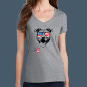 Ladies V Neck Pit Bull 4th