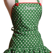 Green & White Ruffle Apron