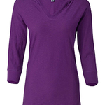 Ladies' 3/4-Sleeve Hooded Slub T-Shirt